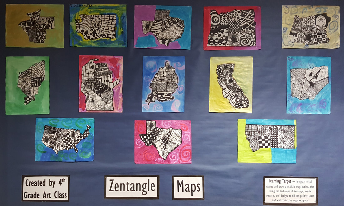 Zentangle Maps in 4th grade - Ms  Tinsley's Class